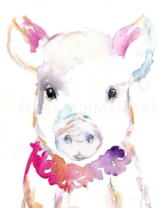 Penny Piglet Pig Watercolor Print Animal by JessBuhmanArt on Etsy