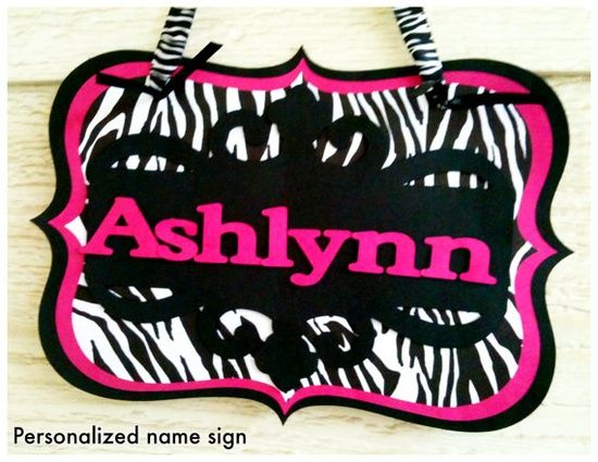 DIY name signs | DIY / Zebra print custom NAME sign, 3-D,.CHECK it out, it's wild yet ...