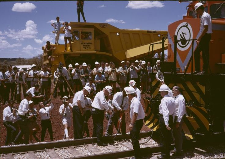 140514PD: Driving the last spike - official opening of the Mt Newman Iron Ore Railroad, 22 January 1969. http://purl.slwa.wa.gov.au/slwa_b2877372_1