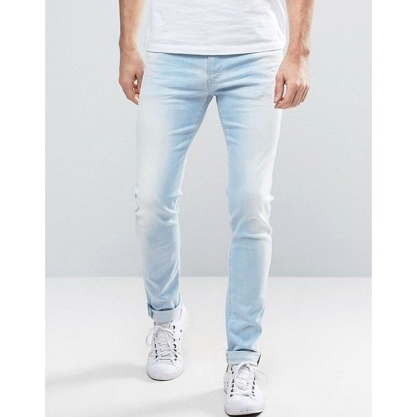 Replay Jondrill Skinny Fit Jeans Sunbleached Wash (€165) ❤ liked on Polyvore featuring men's fashion, men's clothing, men's jeans, blue, mens light wash jeans, mens tall jeans, mens light wash skinny jeans, mens blue skinny jeans and mens blue jeans
