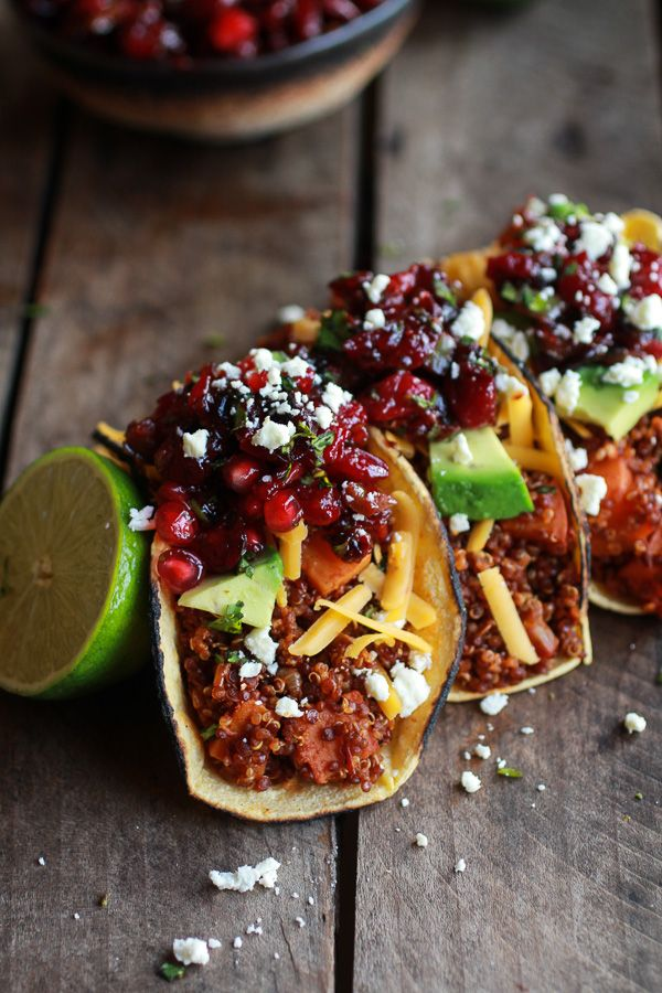 Chipotle Quinoa Sweet Potato Tacos with Roasted Cranberry Pomegranate Salsa recipe | halfbakedharvest.com