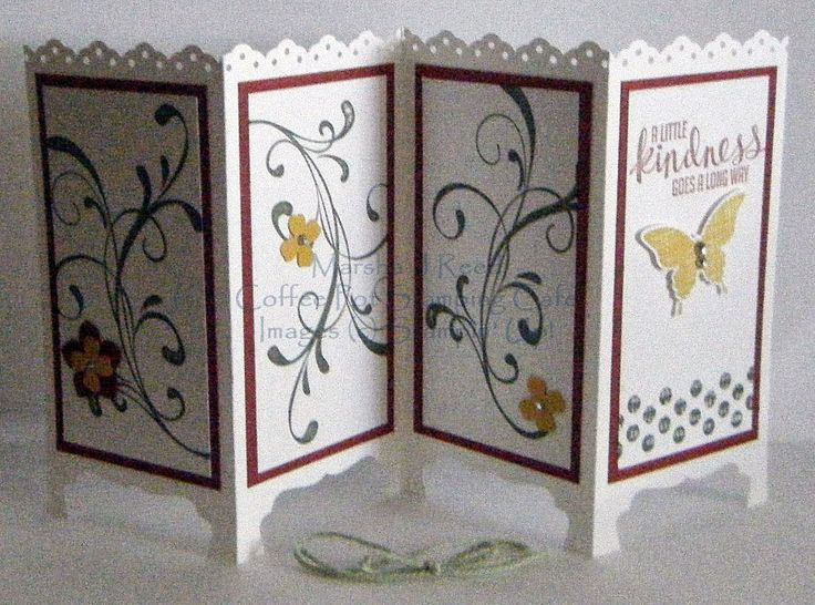 Coffee Pot Stamping Cafe: Screen Fold Card - open