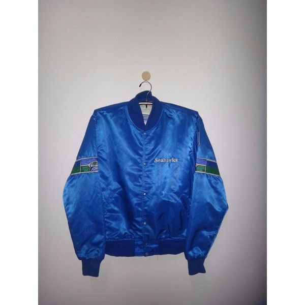 Vintage Seattle Seahawks Satin Starter Jacket NFL Bomber ❤ liked on Polyvore featuring outerwear, jackets, bomber style jacket, vintage bomber jacket, satin jacket, vintage nfl jackets and nfl satin jackets