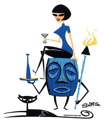 Tiki by Shag ~ Mid Century Modern Art  black cat and tiki torches