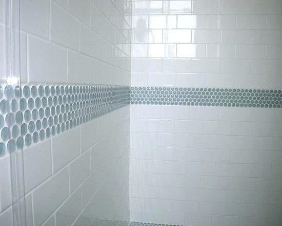 Penny Tile stripe in her bathroom – gray penny til…