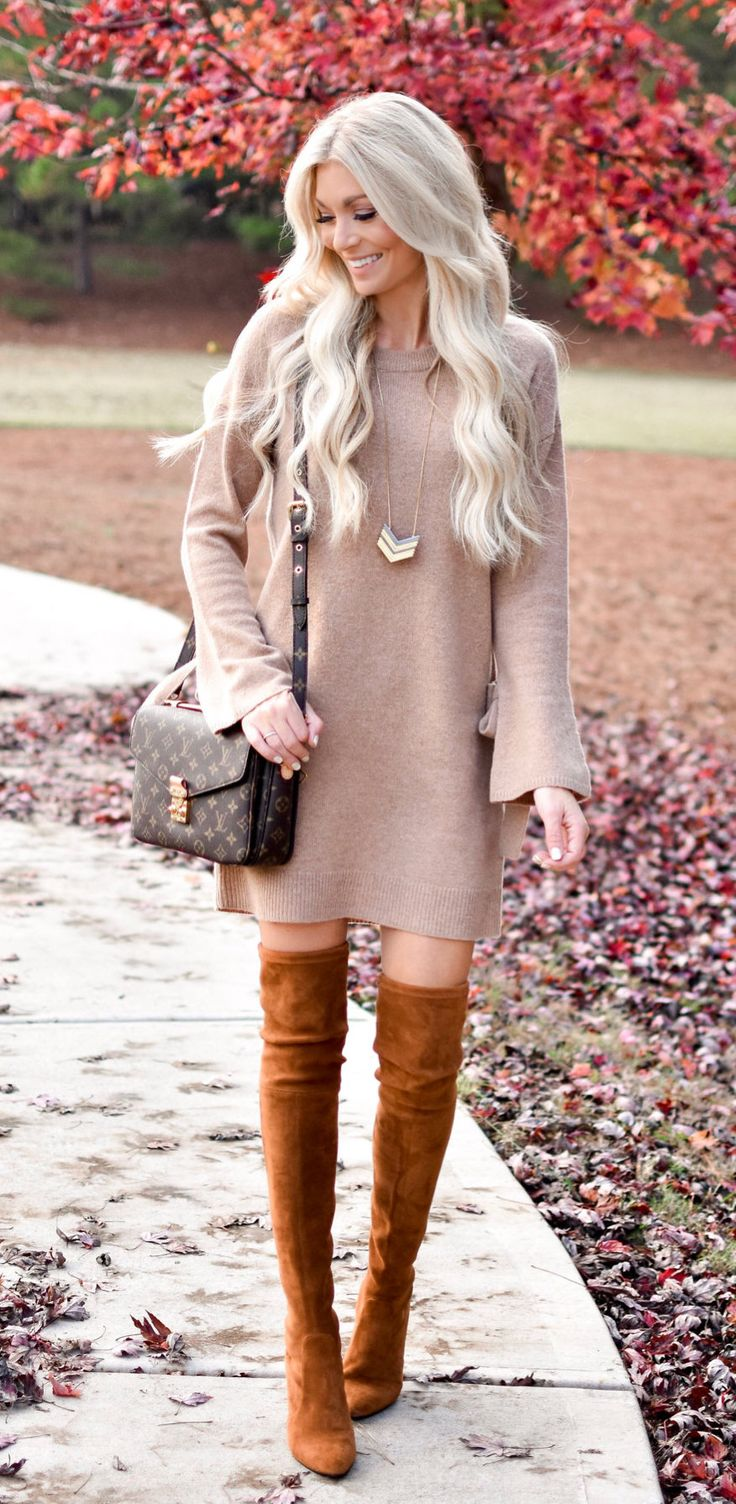 #fall #outfits pair of brown thigh high boots