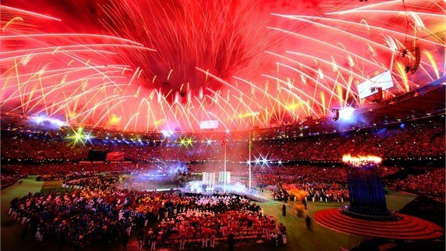 Fireworks light up the Stadium during the Closing Ceremony of the London 2012 Paralympic Games.