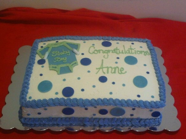 Vanilla Sheet Cake W/ Fondant Cut Outs For A Baby Shower