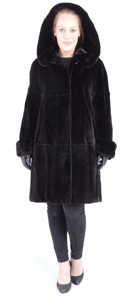 US639 high-grade PLUCKED Mink Fur Coat jacket Hood Saga Mink Nerzmantel L- XL #PelzhausMllerSollingen #BasicCoat