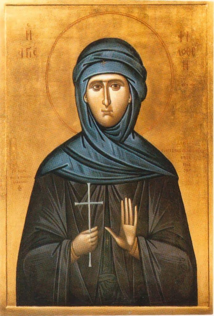 [2] Φορητή εικόνα της Αγίας Φιλοθέης στον ομώνυμο Ιερό Ναό της Φιλοθέης Αττικής. Αποτελεί έργο του αειμνήστου Φωτίου Κόντογλου.