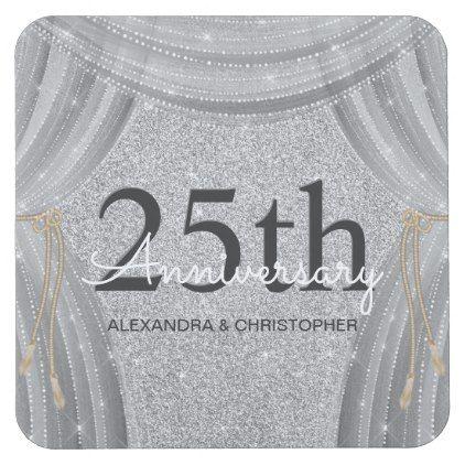 #glitter - #25th Wedding Anniversary Silver and Black Sparkle Square Paper Coaster