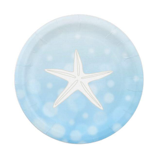 Blue Beach Themed Starfish Paper Plates Zazzle Com Beach