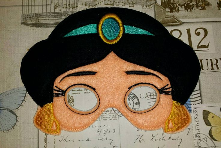 Princess Jasmine inspired mask ITH Project In the Hoop Embroidery Design Costume, Cosplay, Fancy dress, Masquerade, Photo booth, Prop by TheHoopBooteek on Etsy