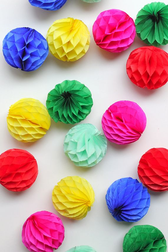 honeycomb balls...make your own party decor in any shape with honeycomb layered paper!!
