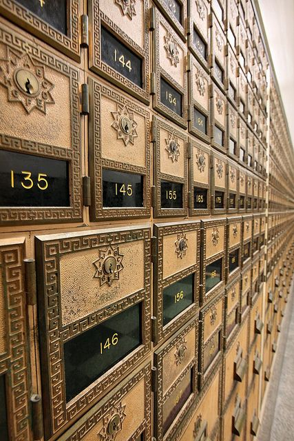 Mail Call ~ Art deco mail boxes extend, seemingly to infinity, at the Hollywood  branch of the Postal Service.