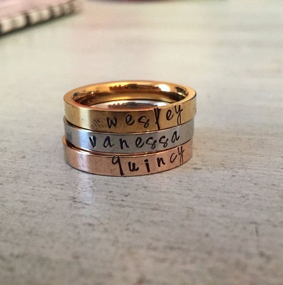 Current Production Time: 1 week ****************************************************************************** This stainless steel ring comes in 7 different sizes. It is 3mm wide. This ring is perfect for stacking and stamping your favorite word or name or date. You dont have to worry about the metal tarnishing or getting scratched. All letters will be lowercase. Please select your size and the number of characters from the drop down menu. Also, please leave a note with color: gold, silver…