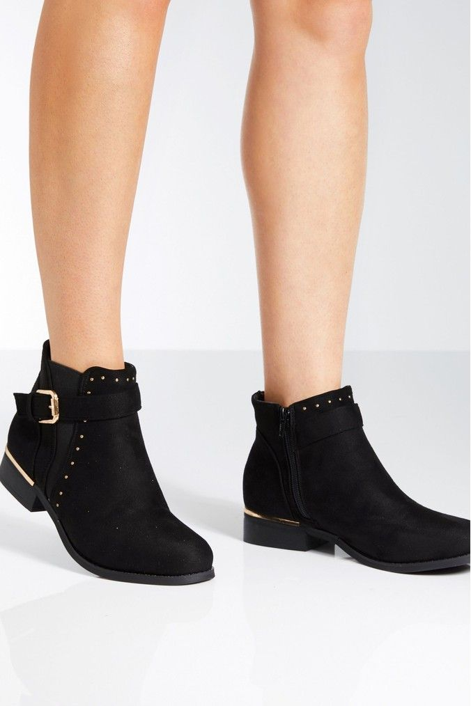 Womens Quiz Gold Buckle Ankle Boots