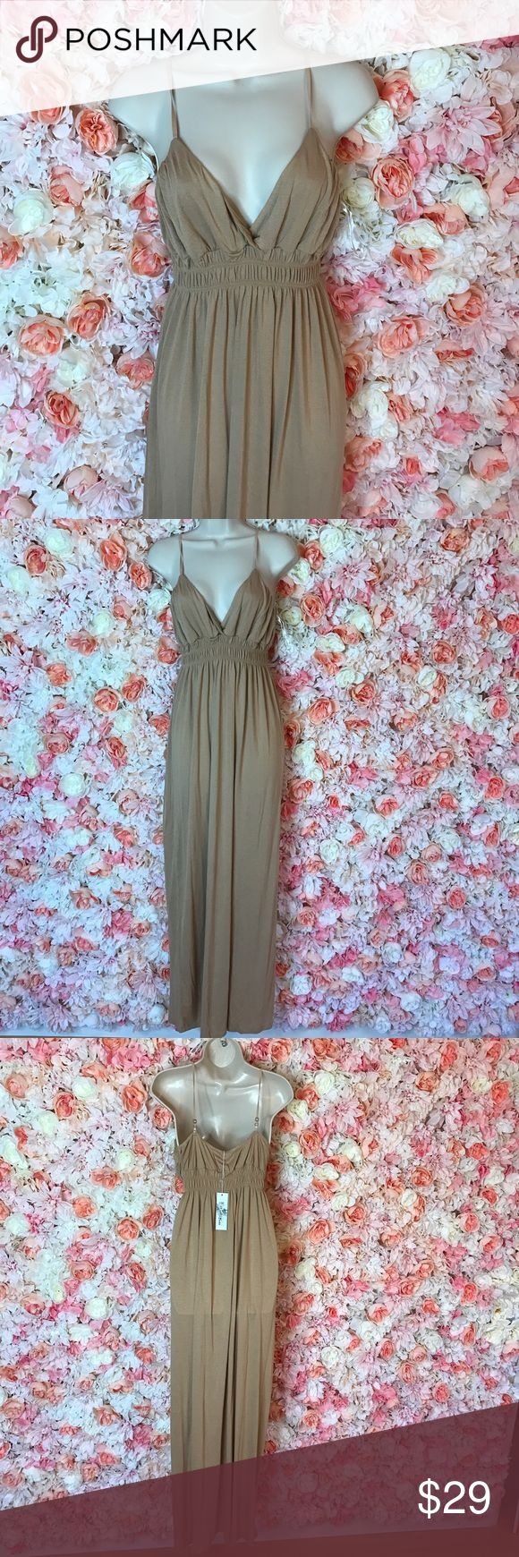 Beige maxi dress Long maxi dress says size large but fits me perfectly. #maxidress my hand shows it's not see though I was just using a very bright light so it looks a little sheer Dresses Maxi
