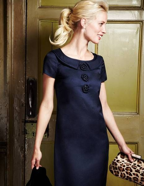 classic dress in navy blue