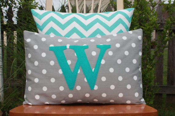 Modern Monogrammed Grey and White Dot Lumbar Pillow Cover - Turquoise Monogram - Grey and Turquoise Nursery