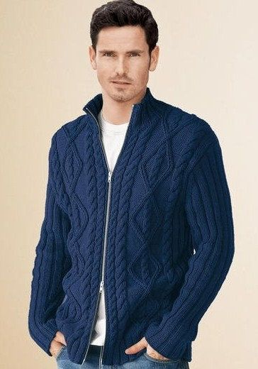 Men's Jacket Sweater Hand Knit Cabled Pattern  with zipper  front  Made to order