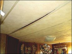 repairing an old mobile home ceiling panel