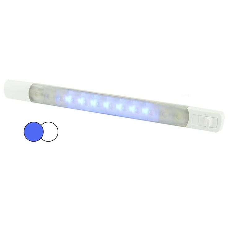 Amazing Hella Marine Surface Strip Light w Switch White Blue LEDs V