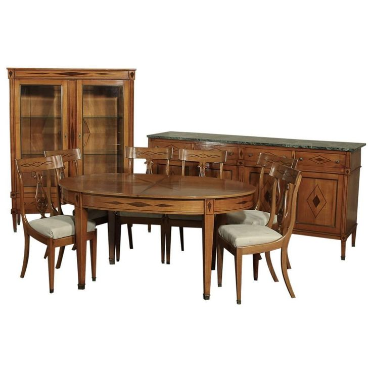 French Directoire Style Inlaid Dining Room Suite | From a unique collection of antique and modern dining room sets at https://www.1stdibs.com/furniture/tables/dining-room-sets/