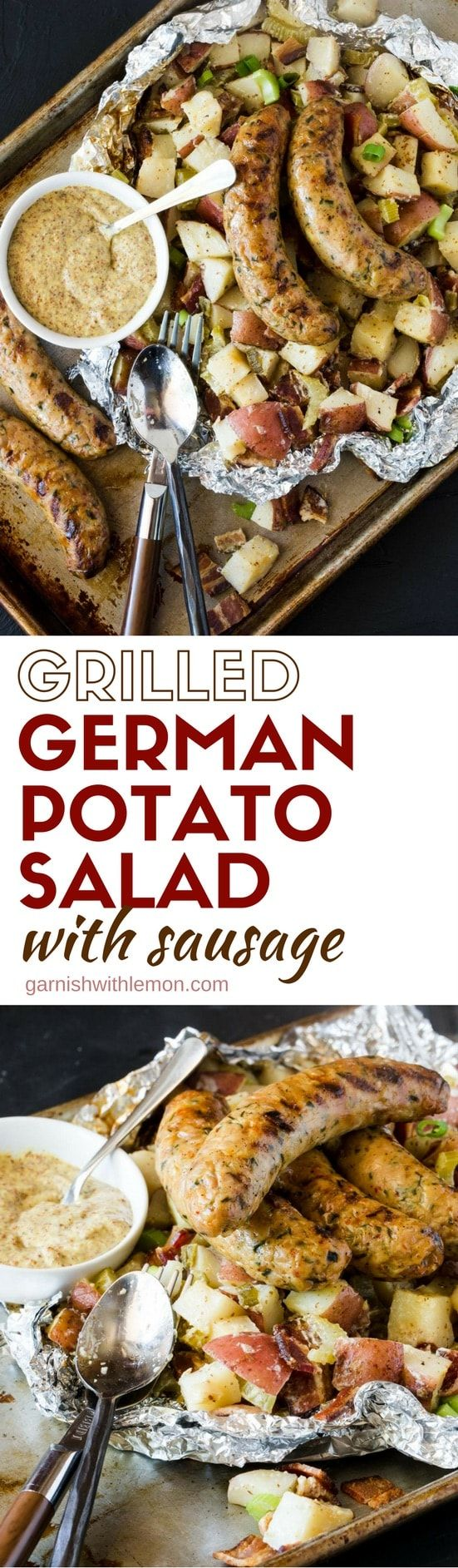 Planning a BBQ? Add this easy Grilled German Potato Salad with Sausage to the menu. Cooked in a foil packet for easy clean up!