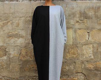 Maxi dress Caftan Plus size dress Grey / by cherryblossomsdress