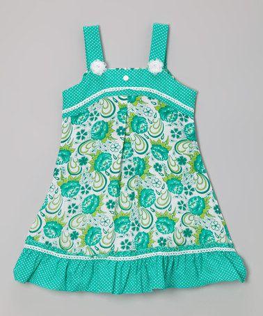 Another great find on #zulily! Green Floral Polka Dot A-Line Dress - Toddler & Girls #zulilyfinds