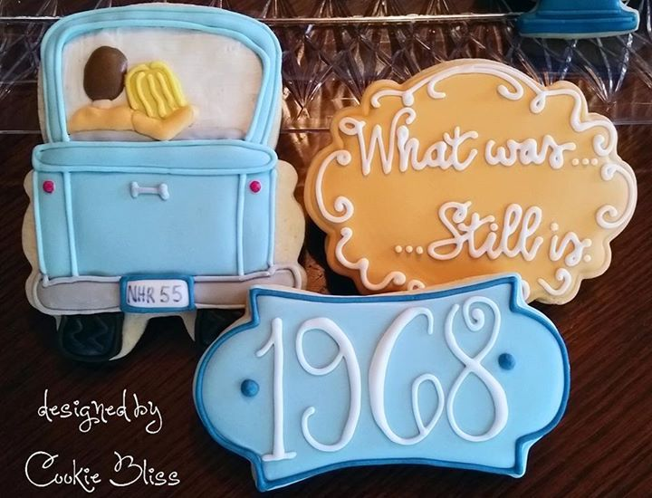 Anniversary Sugar Cookies With Royal Icing of Couple in Car, Date, and Saying Design.