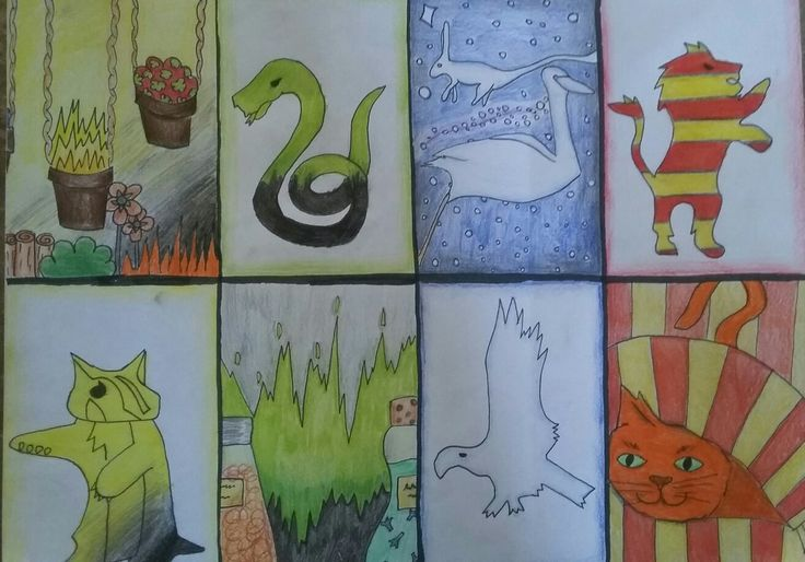 Drawing challenge.  Hogwarts houses.