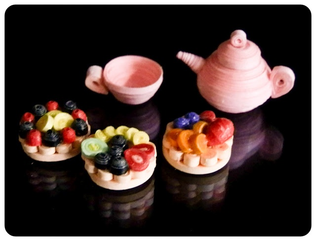 Miniature Quilled Fruit Tarts