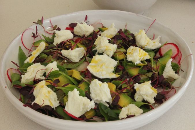 Sugar Snap Pea, Radish and Mozzarella Salad - the perfect summer salad drizzled with olive oil. Topped with avocado and radish. Healthy, vegetarian side