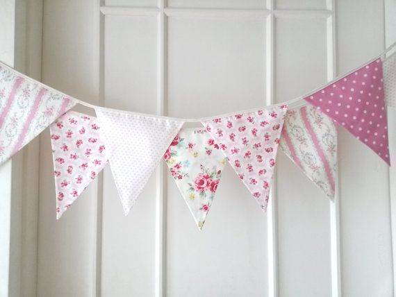 Sweet Pink Bunting, Fabric Banners, Wedding, Garland, Photo Prop, Floral, Roses, Polka Dots, Pink Shade - 3 yards (3rd version) on Etsy, $32.63 AUD