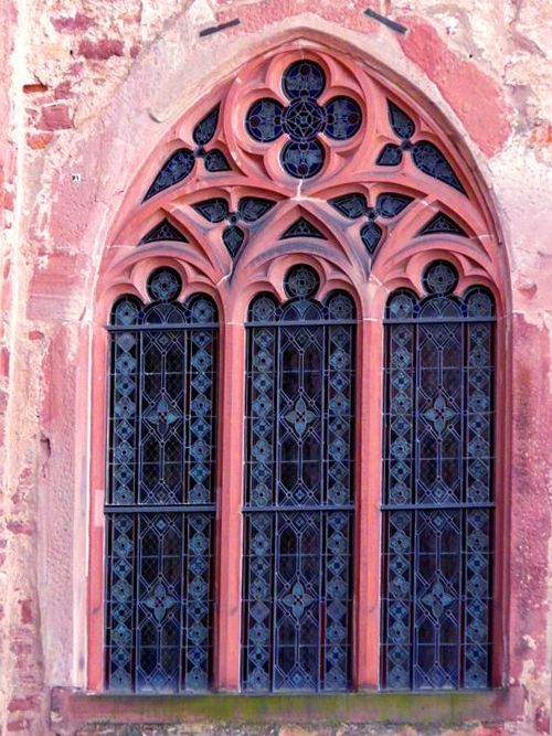 window gothic arch stained glass pink blue mood. Black Bedroom Furniture Sets. Home Design Ideas