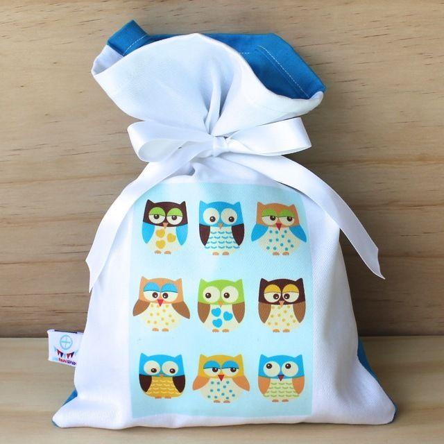 Happy Blue Owls Cotton Party Bag