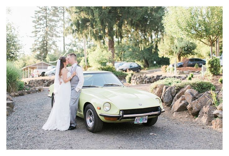 Rosencrown Photography  August 3, 2015 Travis + Stephanie's wedding day was incredible. The sun was shining, the bride was glowing, and the groom was full of joy. Conditions couldn't have been more perfect. But, then you throw in a 1972 Datsun 240Z that has been handed down from the bride's father, and things get even more magical...  Venue: Maple Leaf Events Dress: AniA Collection Suit: Mr. Formal Gresham  Stephanie Seet and Travis Seet.
