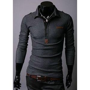 Wholesale New Mens Korean Fashion Lattice Long Sleeve Polo Shirt