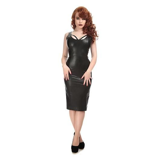 Julia Pencil Dress, Patent black