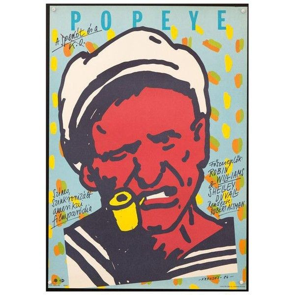 "Vintage Hungarian ""Popeye"" Movie Poster ($250) ❤ liked on Polyvore featuring home, home decor, wall art, posters, vintage comic book posters, photography poster, star wall art, vintage movie posters and star home decor"