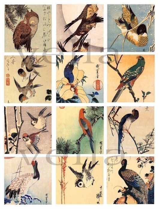Vintage Asian Japanese animal birds trees woodblock art illustrations clip art collage sheet 2.5 inch squares