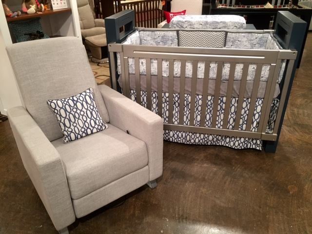 Navy Map Crib Bedding On Display At Georgia Baby In GA In A Two Tone