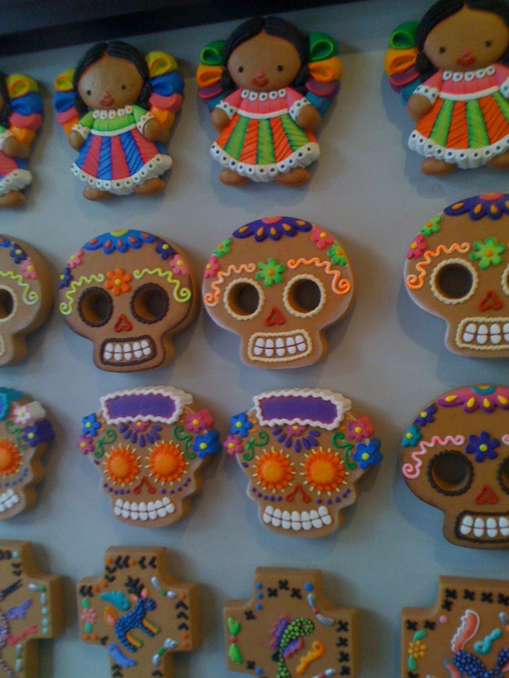 @Johanna Sabbah Found this on Sunday at Bazaar del Sábado in San Angel, México City. I thought you might like it, Mexican Dolls, mexican sugar/candy skulls