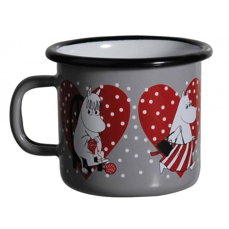 This Moomin Hearts mug is a yearly Christmas favourite! Limited availability so hurry and get yours before they are sold out for the season.Moomin Hearts mug holds 2,5 dl, perfect for cheering your day up!Muurla combines design with durability in this retro Moomin enamel mug. Dishwasher safe, oven safe, freezer safe.