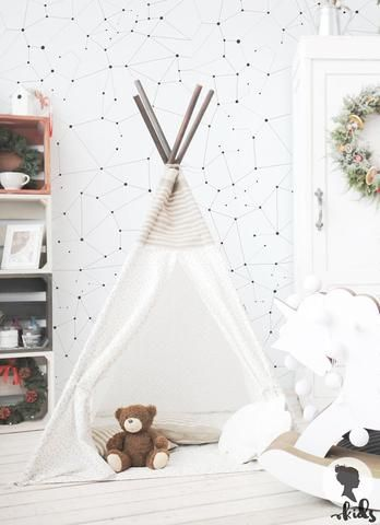 Teepee playroom celestial wallpaper for kids rooms