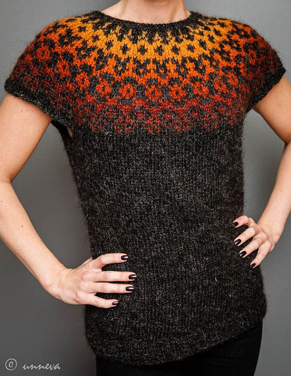 Icelandic Lopi Vest Autumn foliage by unneva on Etsy, $100.00