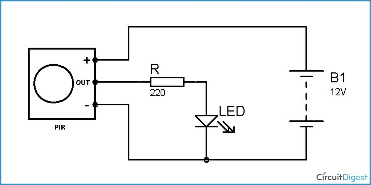 pir motion detector  sensor circuit diagram