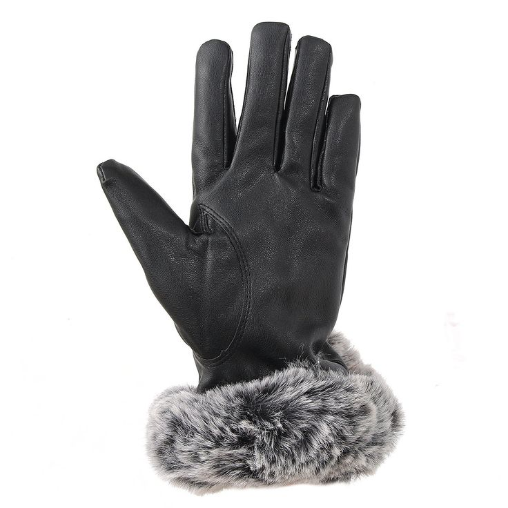 Women Ladies Fur PU Leather Gloves Screen Touch Windproof Driving Mittens at Banggood sold out